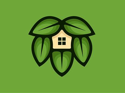 Leaf House Logo tree architecture modern green estate home house natural nature plant leaves leaf illustration exclusive vector logo branding design