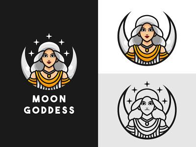 Moon Goddess Logo elegant old mascot night greek goddess god woman women girl beautifull beauty crescent moon illustration exclusive vector logo branding design