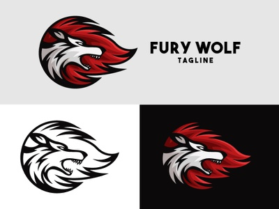 Fury Wolf Logo face head side blazing blaze hot flame fire fury anger mad angry wolf animal illustration exclusive vector logo branding design