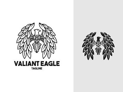 Valiant Eagle Logo full aquila black elegant valiant flap drawing sketch flying fly eagle falcon hawk animal illustration exclusive vector logo branding design