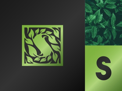 Shady S Leaf Logo typography company premium tree brand green leaves leaf s initial letter natural plant nature illustration exclusive vector logo branding design
