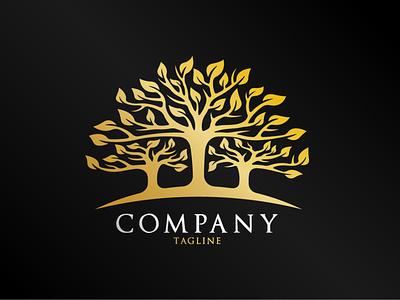 Identical Tree Logo elegant twin company gold luxury circle leaves leaf tree identitiy brand natural plant nature illustration exclusive vector logo branding design