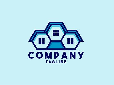 Modular House Logo blue property apartment villa housing future modular hexagon home building smart modern estate house illustration exclusive vector logo branding design