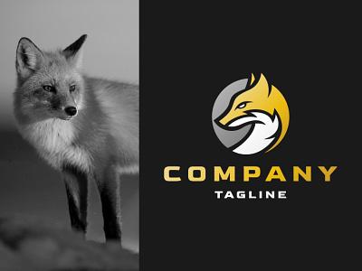 Modern Fox Logo symbol mascot simple natural nature company minimalist face wild head circle modern fox animal illustration exclusive vector logo branding design