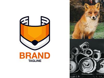 Paper Fox Logo sheet modern product rolled roll head face fox creative paper animal illustration exclusive vector logo branding design