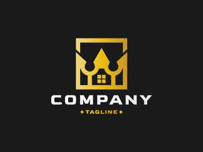Grand House Logo company modern square golden gold construction luxury royal crown king residential villa home house estate illustration exclusive vector logo design