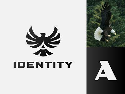Amazing Eagle Logo identity negative a initial alphabet letter modern black flying fly falcon hawk eagle animal illustration exclusive vector branding logo design