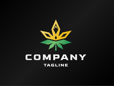 Royal Cannabis Logo leaves natural modern royal crown king medical health drug cbd leaf cannabis plant nature illustration exclusive vector branding logo design