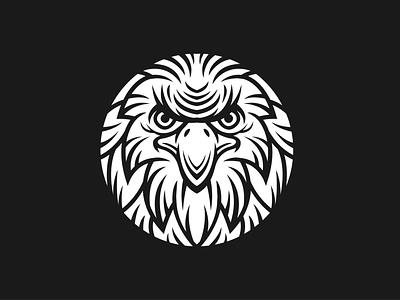Bold Eagle Logo nature wild black brave bold modern silhouette white circle head face hawk eagle animal illustration exclusive vector branding logo design