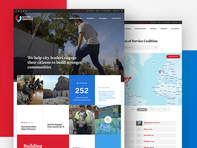 Cities of Service Website landing page homepage web design ui community