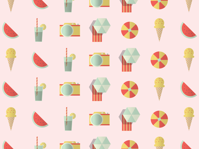 Summer ice cream lemon coctail beach umbrella ball pink watermelon camera pattern summer