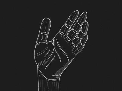 Hand illustration lines thumb white black fineliner line fingers hand