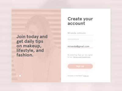 Sign Up sign up daily ui signup ui form design dailyui clean button 001
