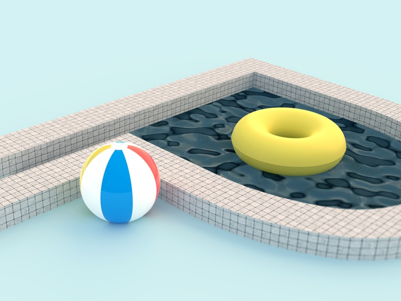 36 days of type P beach ball pool blender3d blender 3d type 36daysoftype-p 36daysoftype 36days