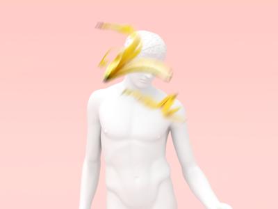 Colorblind minimal banana statue blender3d 3d