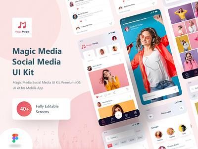 Magic Media Social Media UI Kit animation clean tiktok snapchat video app enjoy live music donwloader ui design twitter ios app design product design mobile app app design instagram socialmedia uiux ui