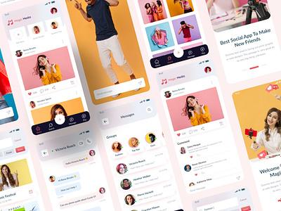 Magic Media Social Media UI Kit deisgn social media ui kit social media social app branding app design design ios app design enjoy instagram