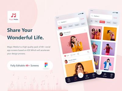 Magic Media Social Media UI Kit ios app design enjoy instagram ui design social app social media social media ui kit deisgn