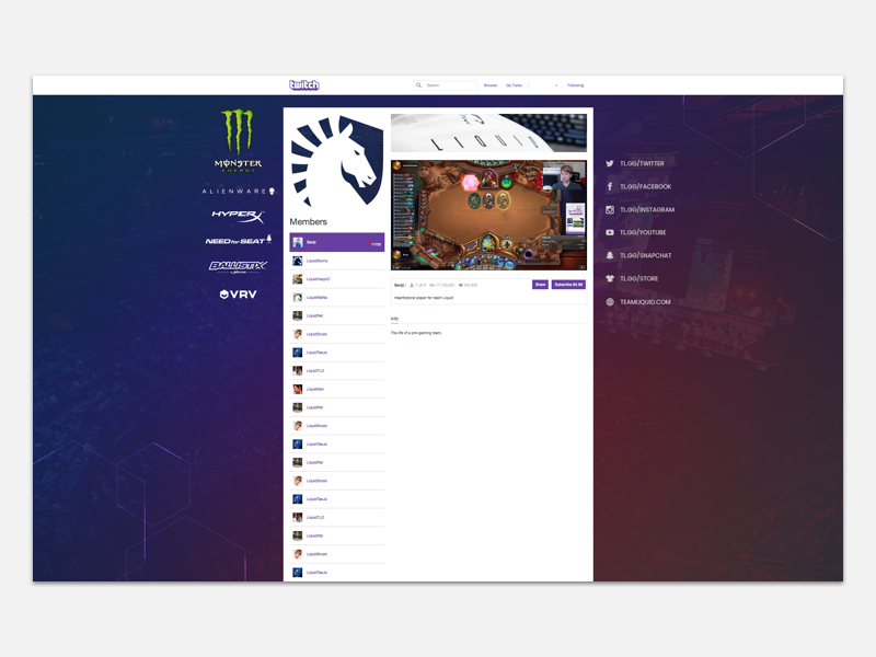 Team Liquid Twitch Team Page by Kathy Ma on Dribbble