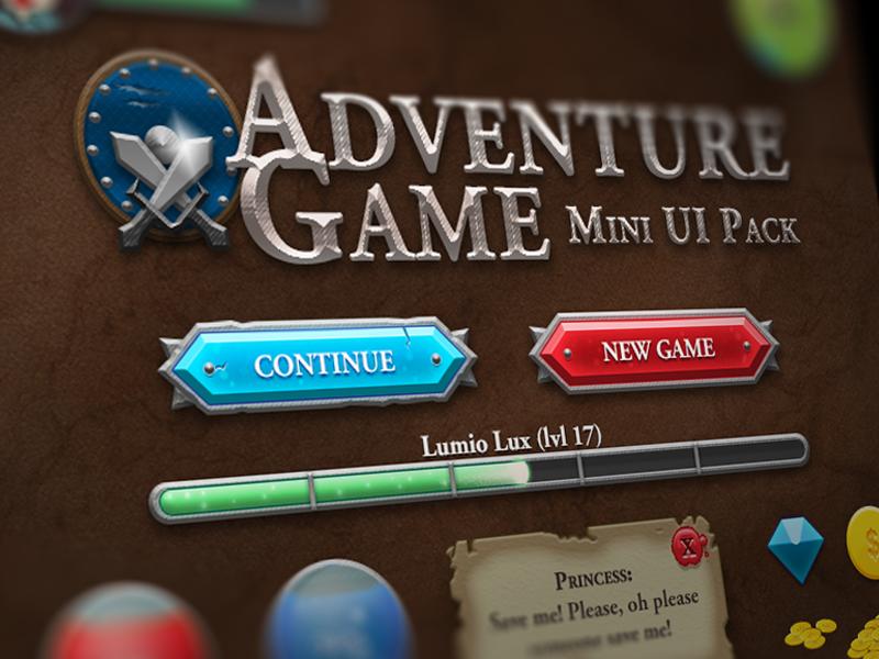Adventure Game Mini RPG UI Pack [Free PSD] game ui kit pack rpg adventure game gaming ui user interface button progress bar health mana dialogue gem coins freebie free psd casual