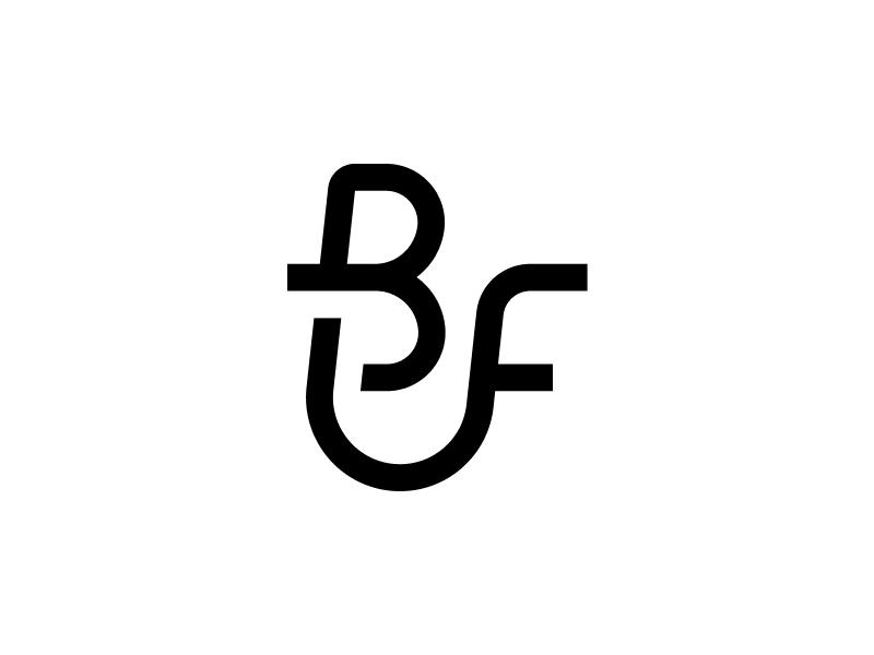 BitFurther logomark icon slant monogram mark logo initial bf f b