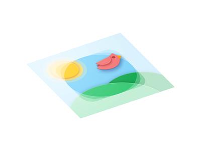 birb isometric sketch adaptive icon sun hills cardinal bird icon design icon material design