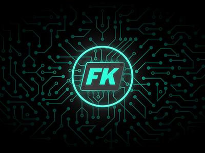 FK Kernel Manager – Banner geometric color gradient design circuit glow neon illustration design pattern