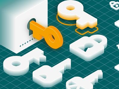 Password Safe – Feature Graphic grid password generator key gold illustrator isometric illustration password manager password lock keys safe security illustration