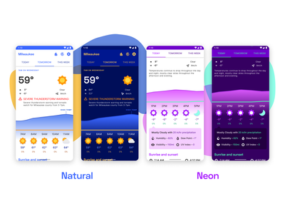 Weather app – WIP 2 app android design app design product ui light theme dark theme neon colors natural colors neon forecast weather app weather material design material theme