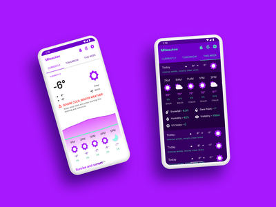 Currently—Current and Weekly View product ui design app design purple ui material weather app weather dark mode