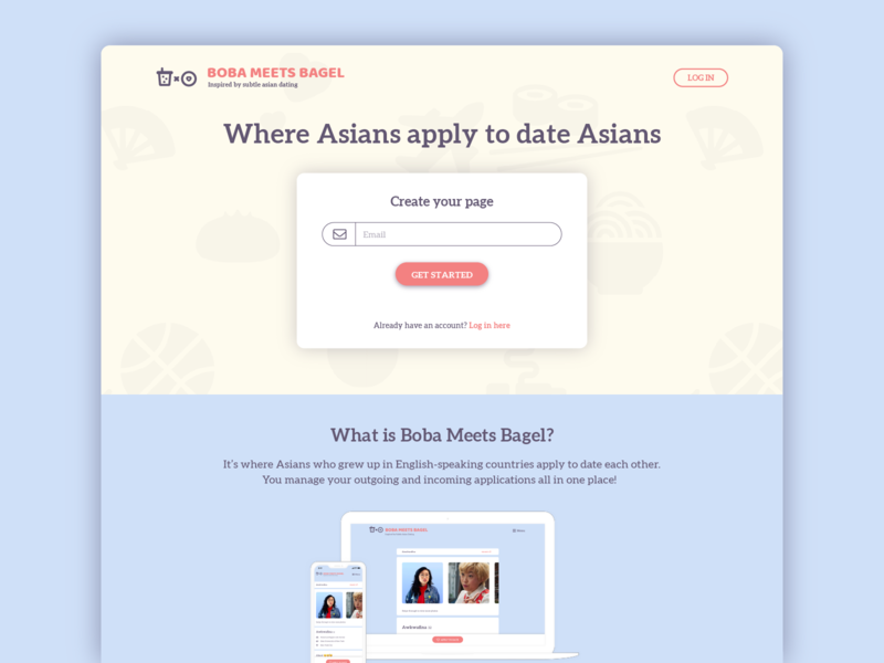 Boba Meets Bagel (Dating app) - Landing Page boba meets bagel landing page hero page asian dating app dating app bubble tea subtle asian dating sign up page sign up branding coffee meets bagel boba website design
