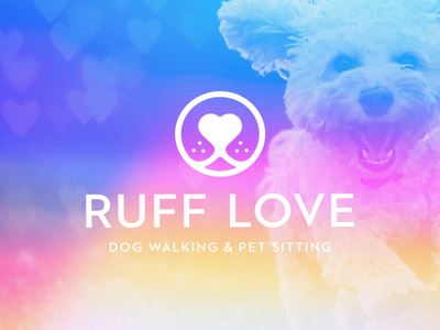 Ruff Love Dog Sitting branding design vector illustration austin logo