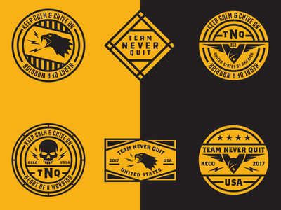 Team Never Quit Patches  eagle shirt black yellow forces armed usa military patches