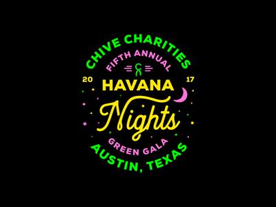 Chive Charities Lock up green pink ux type texas austin havana cuba up lock logo