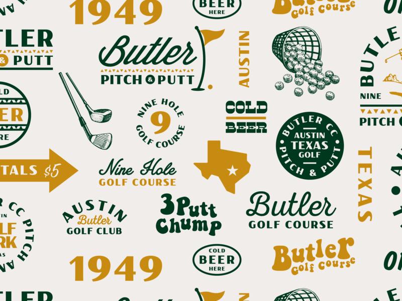 Butler Pitch & Putt idenity typography illustration icon shirt logo austin texas