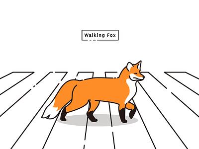 Walking Fox line lucida sans illustration walking perspective beatles crosswalk animal fox
