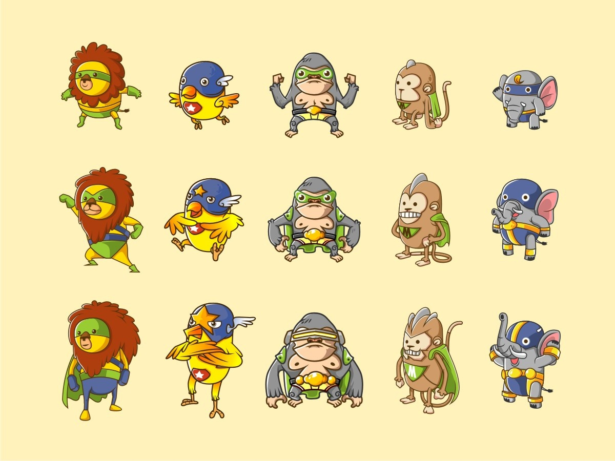 Animal Heroes animal line art simple cute icon illustration vector