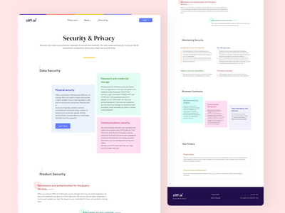 Security & Privacy data security section security and privacy sections color cards ui colors cards privacy security user interface ui ux design user experience