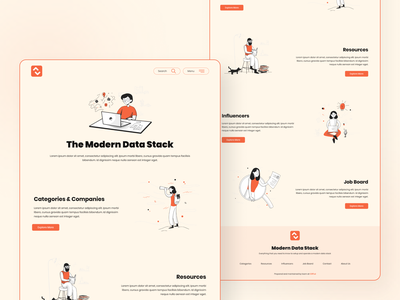 Modern Data Stack - The Home Page design user interface user experience modern design illustration poppins fonts colors landing page homepage the modern data stack data stack modern data stack