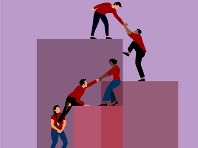 a Team! hand unity woman man team flat vector illustration character