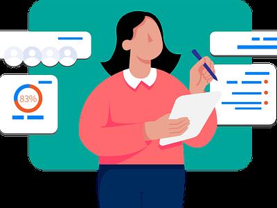 Check-list writing woman girl design flat illustration vector character