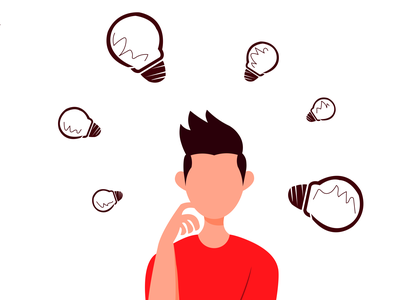 Ideas! flat branding design vector illustration character