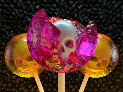 Skull Candy skullcandy lolly dead spooky candy skull cinema4d 3d halloween