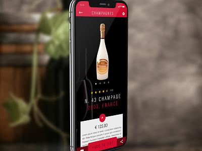 Wine App product page wine design ios iphonex app