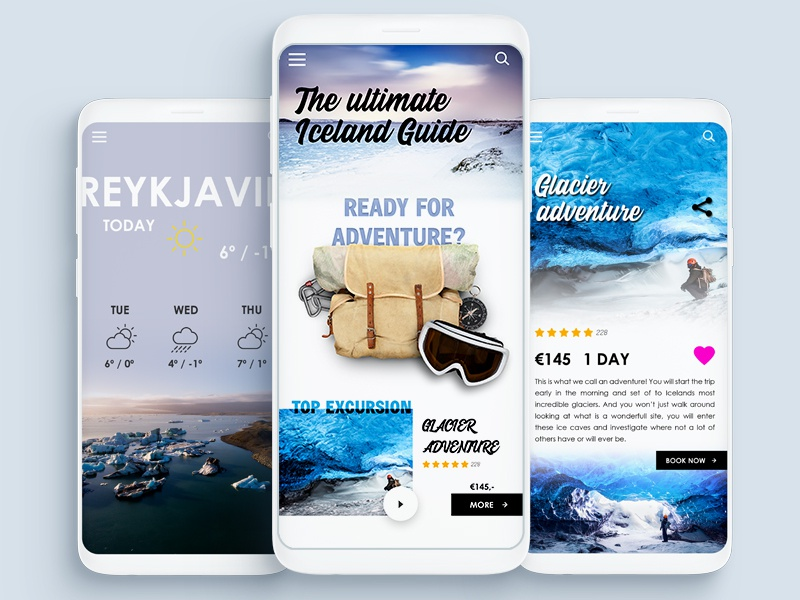 Iceland Guide App travel ux ui samsung s9 android ios user interface design app