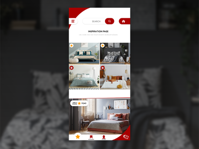 Bedroom Inspiration mobile page design app collage iphone ios lifestyle sleep bedroom photoshop white red minimal mobile design