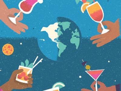 Drinks Around the World illustration poster