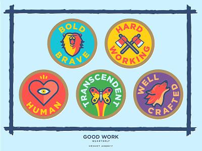 Good Work Quarterly Badges illustration badges