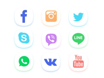 Social Media Icons youtube vk whatsapp line viber skype twitter instagram facebook