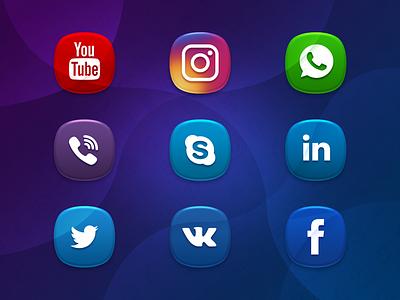 Social Media icons facebook vk twitter linkedin skype viber whatsapp instagram youtube